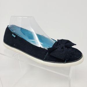 Keds Women's Slip On Black Canvas Flats Bow on Toe